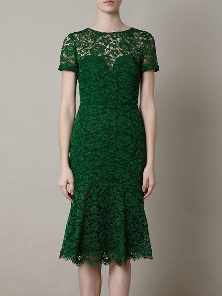 Burberry Prorsum Lace Openback Dress In Green Emerald Lyst