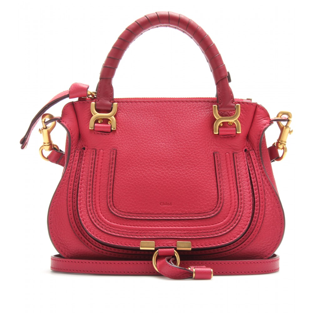 Chlo¨¦ Baby Marcie Leather Handbag in Pink (peony red) | Lyst