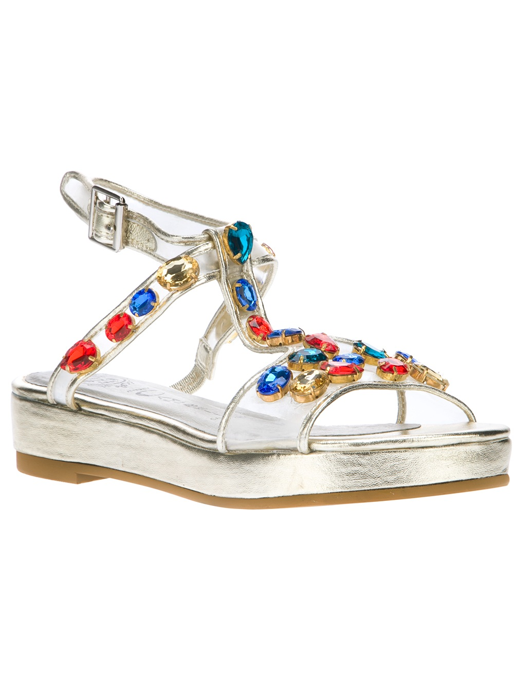 Lyst Jeffrey Campbell Boca Jewel Sandal In Metallic
