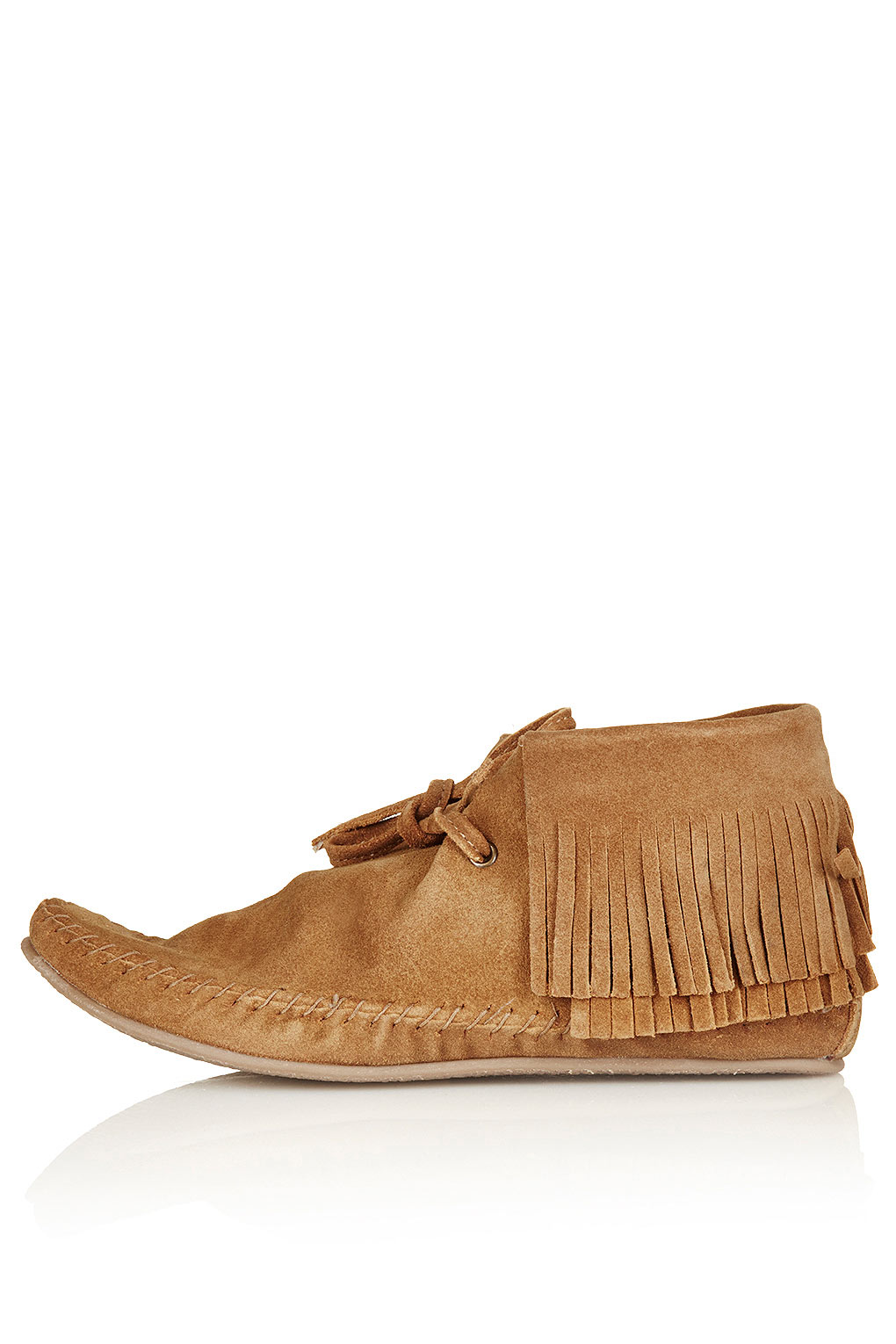 topshop maryland suede fringe boots in brown lyst