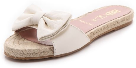 Red Valentino Bow Slide Espadrilles In White Lyst