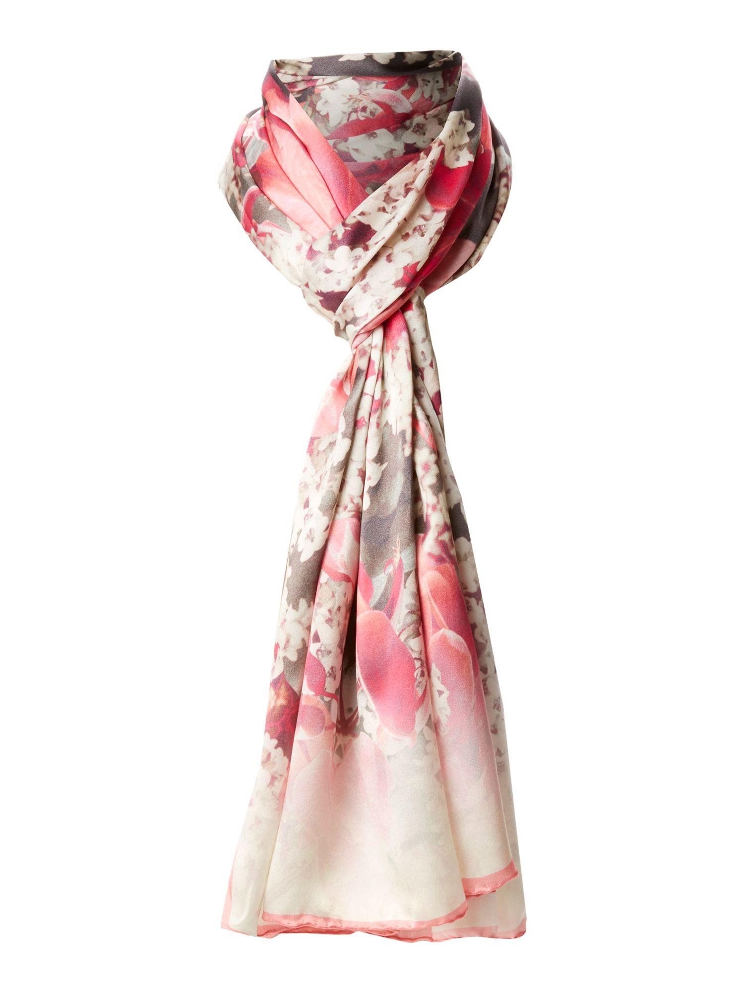 ted baker bloom print silk scarf in pink lyst