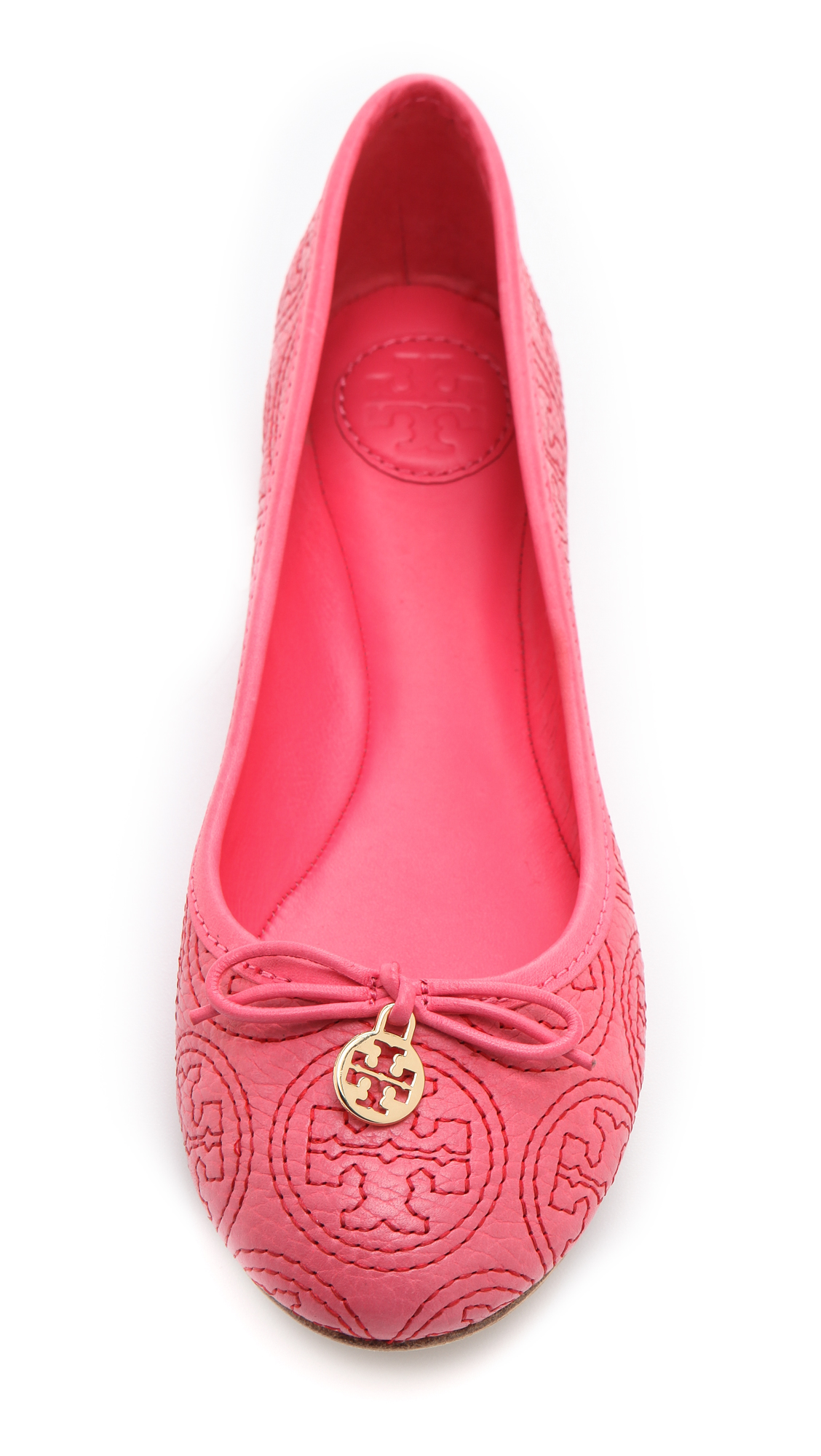 c5cbc4f75a46 ... promo code for lyst tory burch chelsea stitched ballet flats in pink  eb1ca c8728
