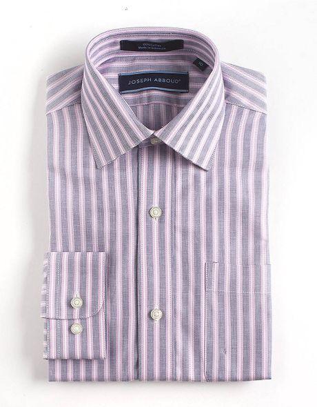 Joseph abboud striped cotton dress shirt in purple for men for Joseph abboud dress shirt