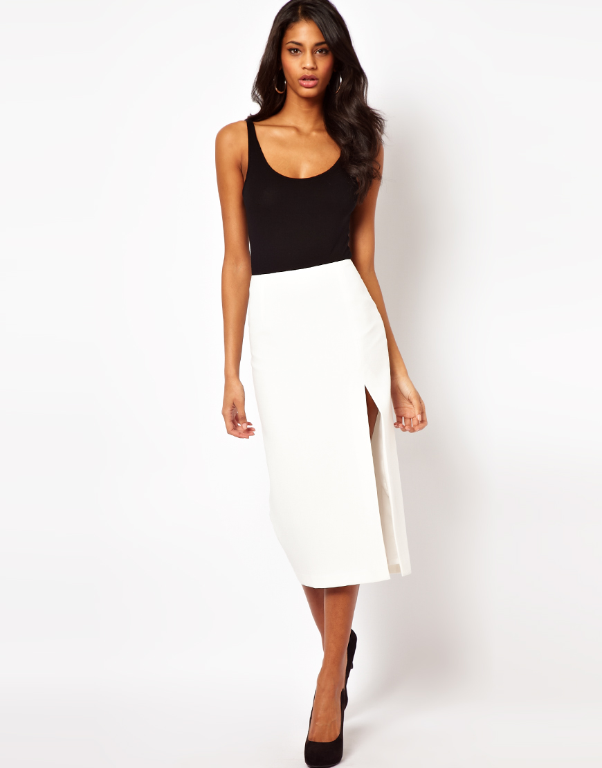 Asos collection Pencil Skirt with Split Leg in White | Lyst