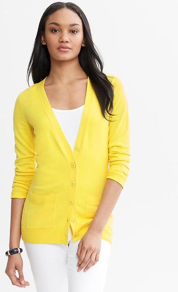 Banana Republic Long Cardigan in Yellow (moon yellow)