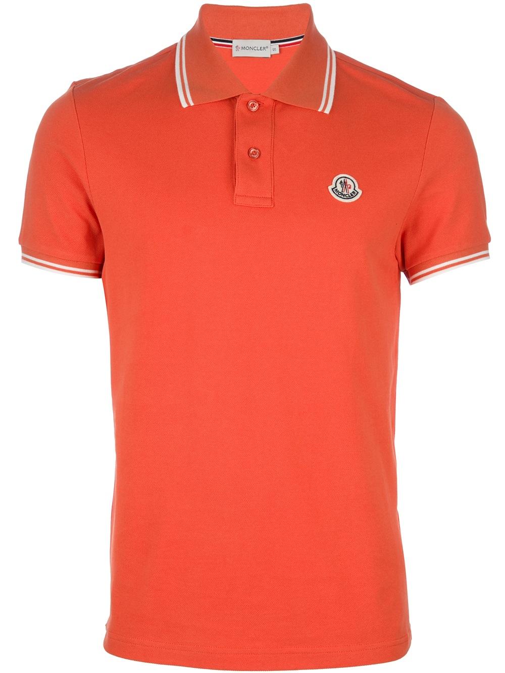Moncler classic polo shirt in orange for men lyst for Orange polo shirt mens