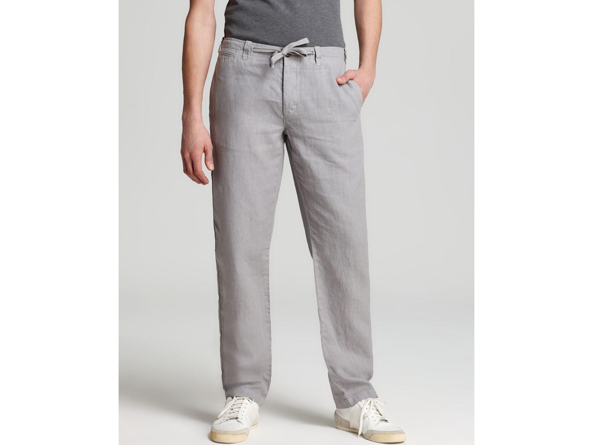 Vince Linen Drawstring Pants In Gray For Men Silver Fin