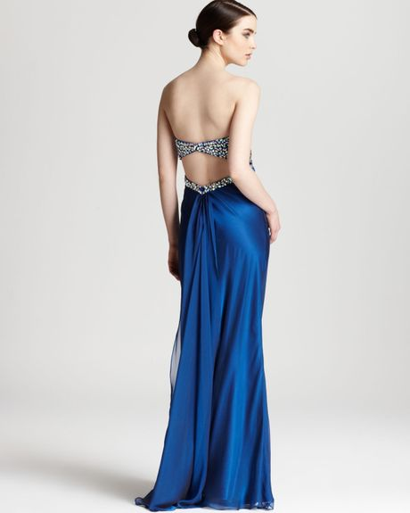 Embellished Bodice Strapless Wedding Gown: Faviana Couture Strapless Gown Open Back Embellished