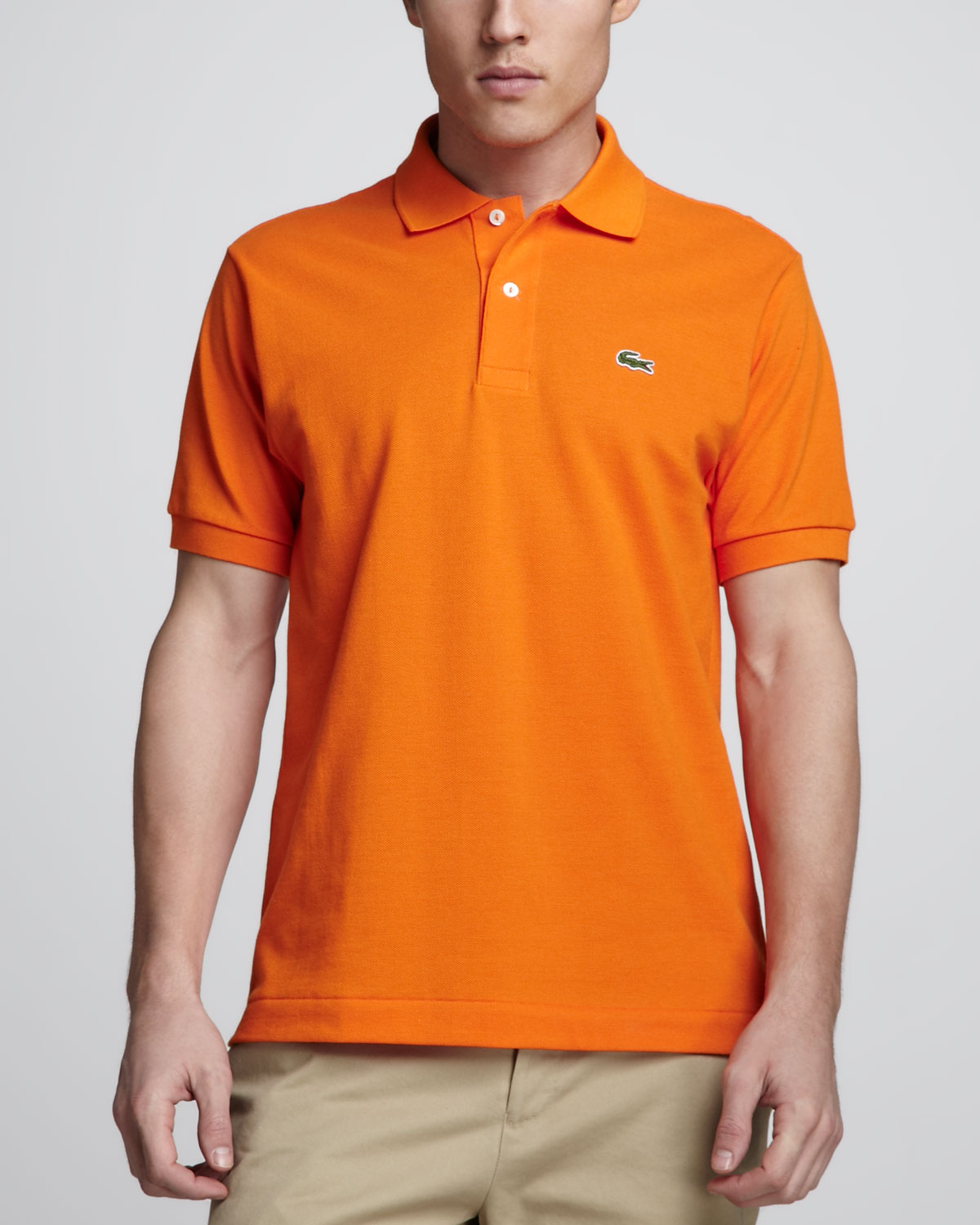 lyst lacoste orange ss pique polo in orange for men. Black Bedroom Furniture Sets. Home Design Ideas