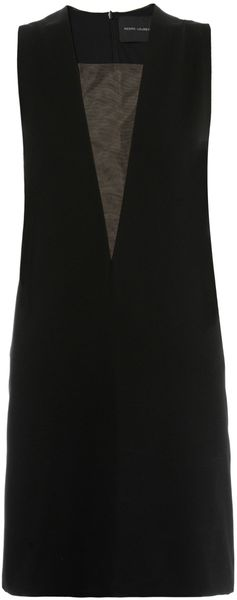 Pedro Lourenco Mesh Insert Sleeveless Dress - Lyst