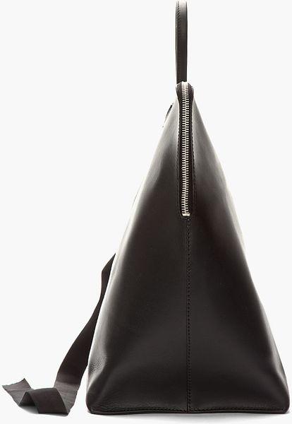 Rick Owens Black Triangular Leather New Bucket Bag In