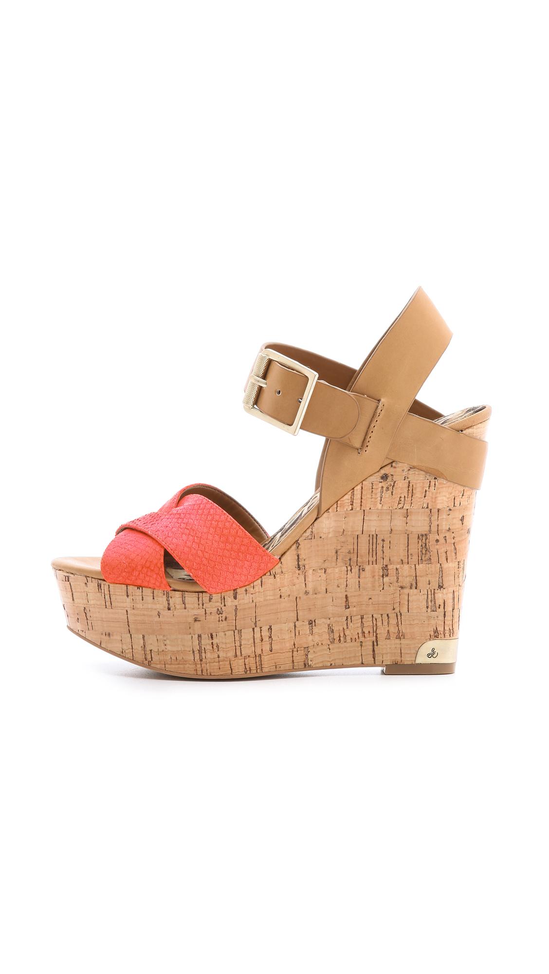 Lyst Sam Edelman Sasha Wedge Sandals In Orange