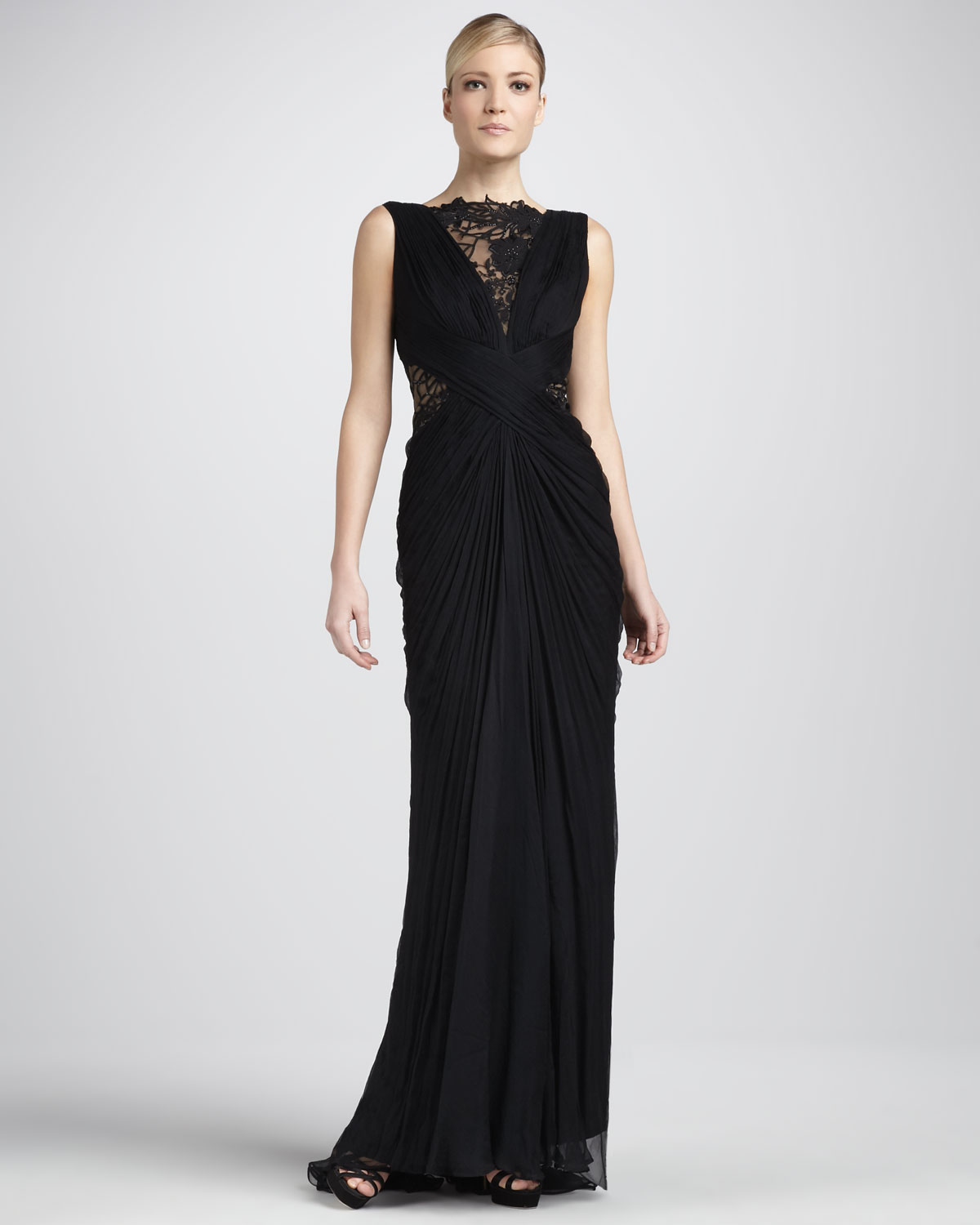 Lyst - Tadashi Shoji Sleeveless Lace and Sequined Illusion Back Gown ...