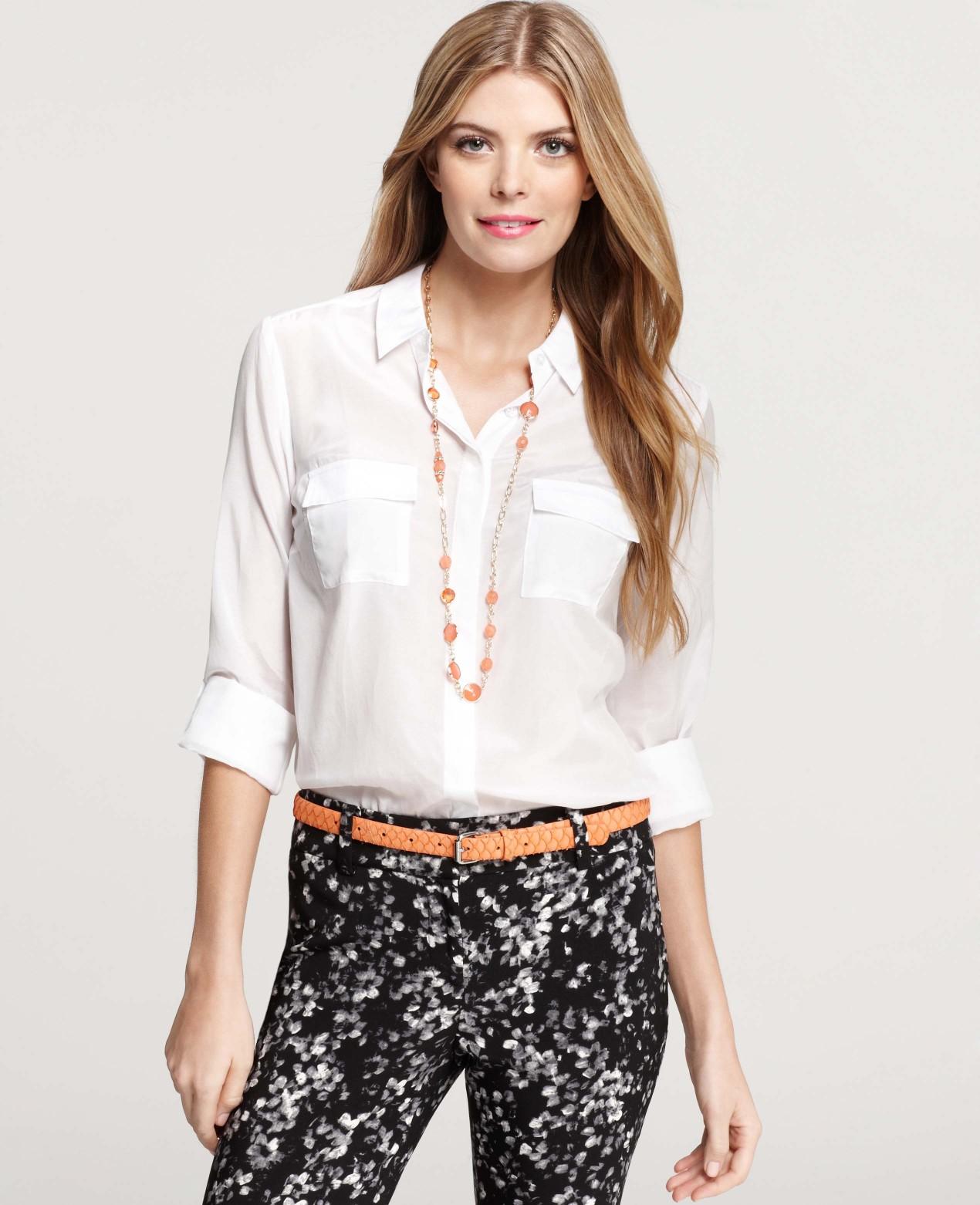 15cde6cd0264b Lyst - Ann Taylor Petite Silk Cotton Camp Shirt in White