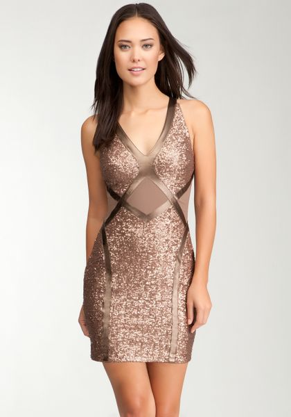 Bebe Sequin Mesh V Neck Dress In Gold Chocolate Lyst