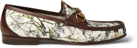 Gucci Floralprint Canvas And Leather Loafers In Floral For