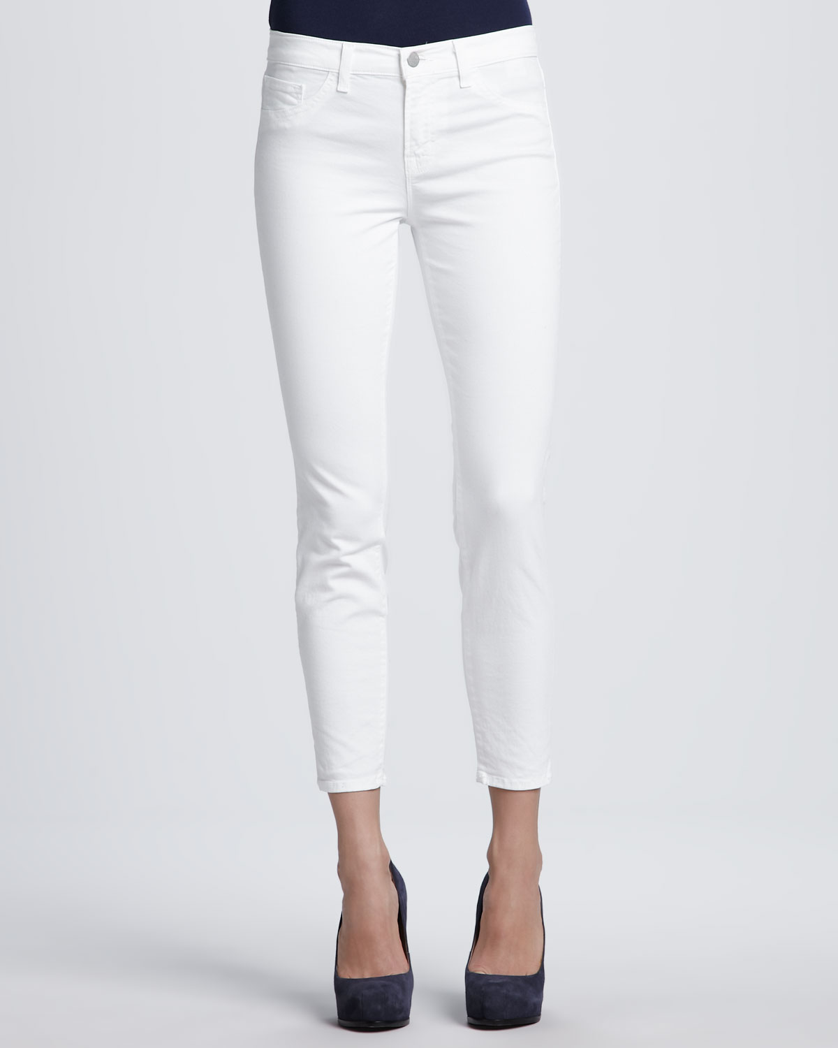crop white jeans - Jean Yu Beauty