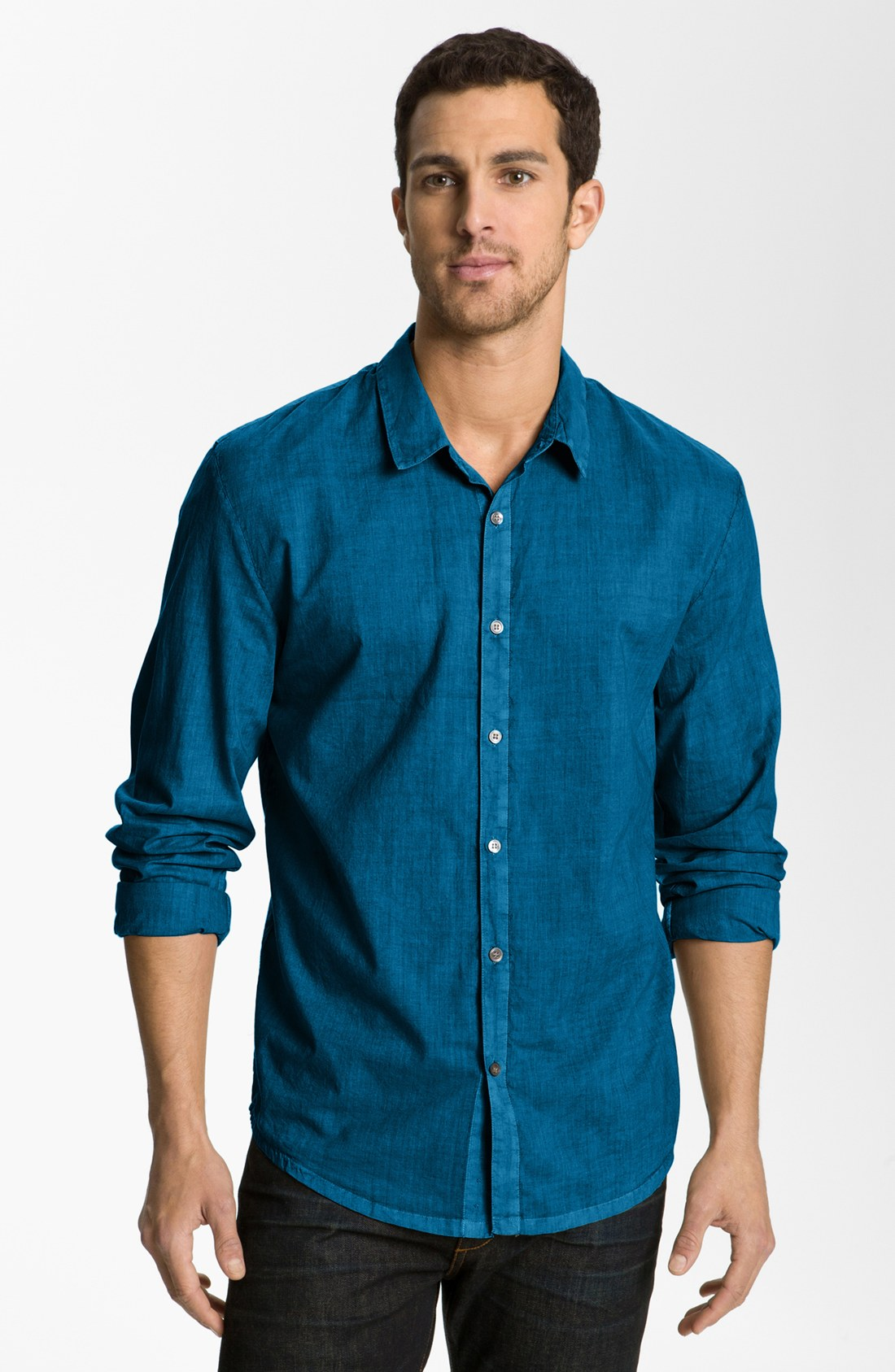 James perse classics woven shirt in blue for men curacao for James perse t shirts sale
