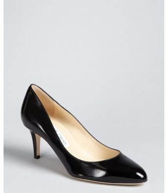 Jimmy Choo Black Patent Leather Almond Toe Vega Pumps - Lyst