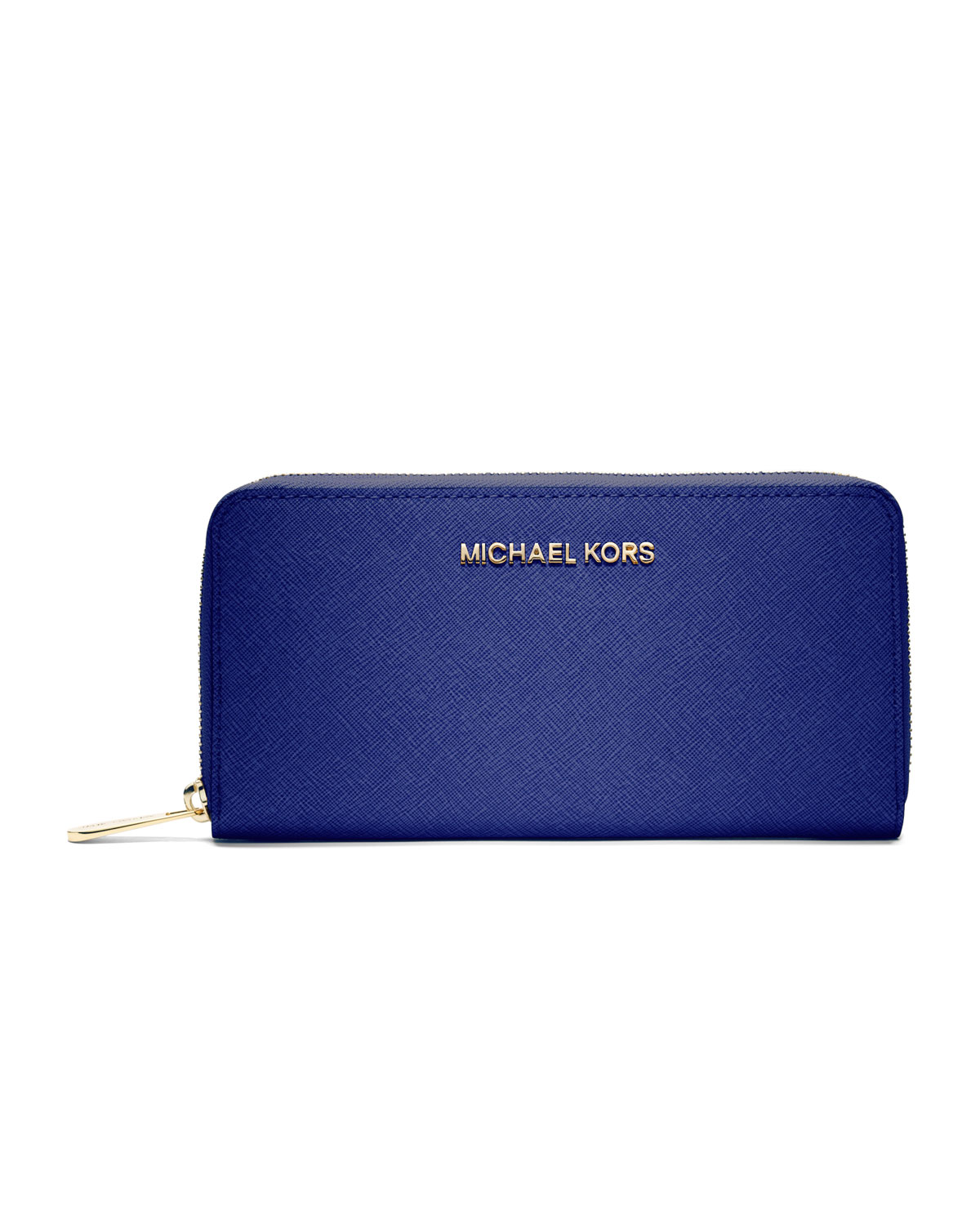 d7c03999aa56 ... where to buy lyst michael kors jet set saffiano continental wallet in  blue 04543 fd16a