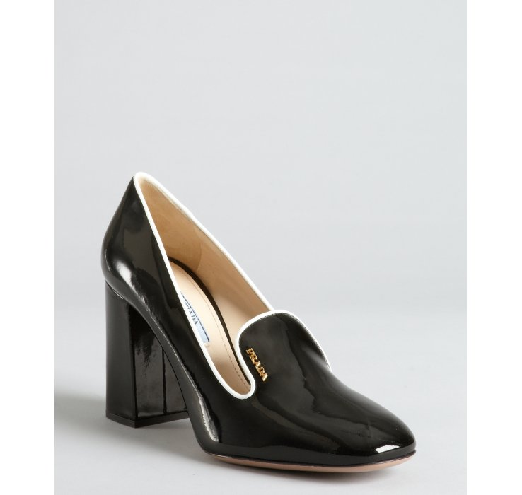 e8061fe7c286 low price lyst prada black and white patent leather block heel loafer pumps  24330 cbe5f