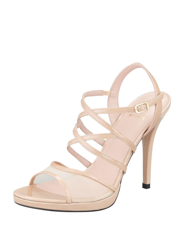 Stuart Weitzman Satin & Mesh Slingback Sandals for cheap sale online zzGpM
