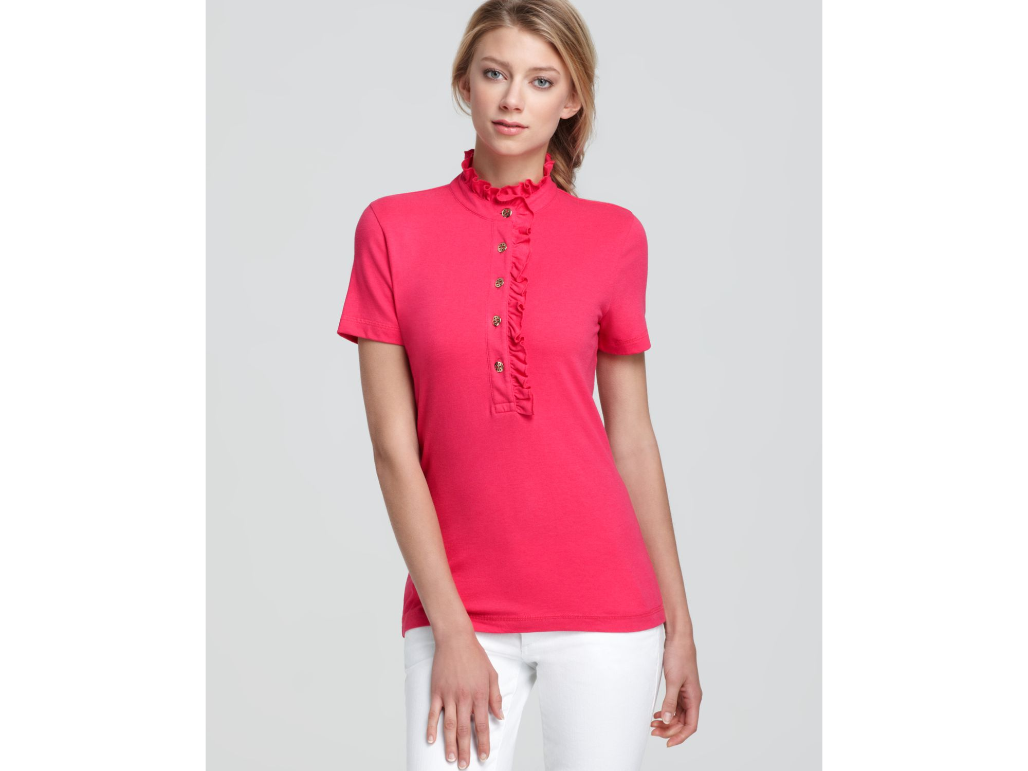 9d0fadecbf6 Lyst - Tory Burch Lidia Polo Shirt in Pink
