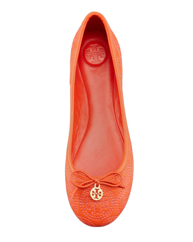 ae75d6e39 ... australia lyst tory burch chelsea stitched logo ballerina flat in orange  3bc1d b6a67