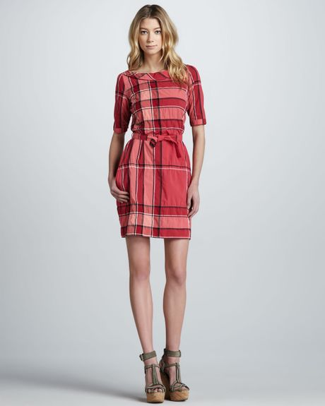 Burberry Brit Check Print Boat Neck Shirt Dress In Red