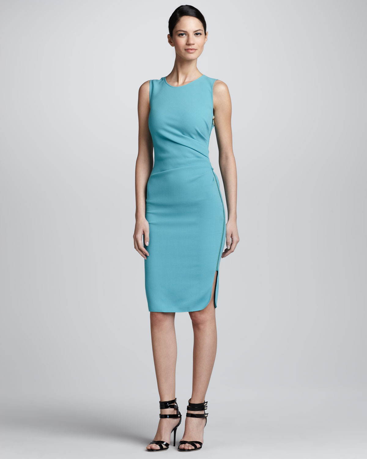 Emilio pucci ruched side zip crepe dress in blue lyst gallery previously sold at neiman marcus ombrellifo Choice Image