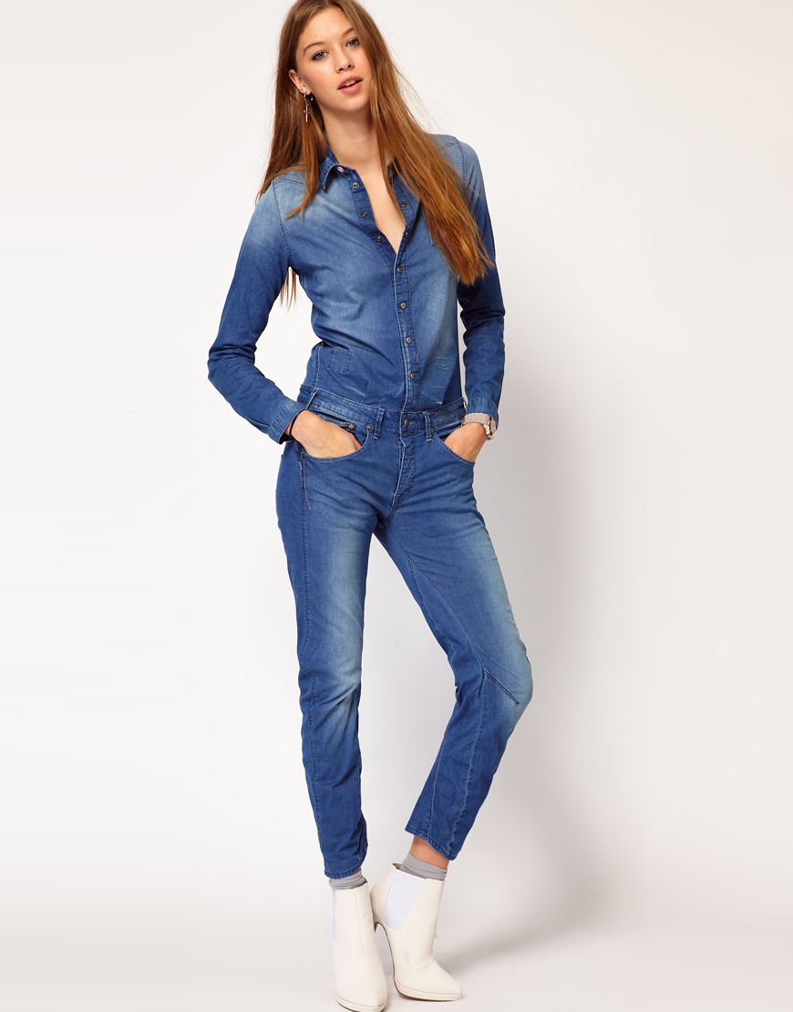 G-star Raw Gstar Denim Jumpsuit In Blue | Lyst