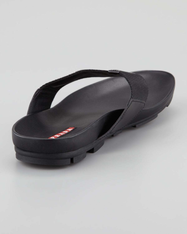 09ea29907377 Lyst - Prada Nylon Thong Sandal in Black for Men