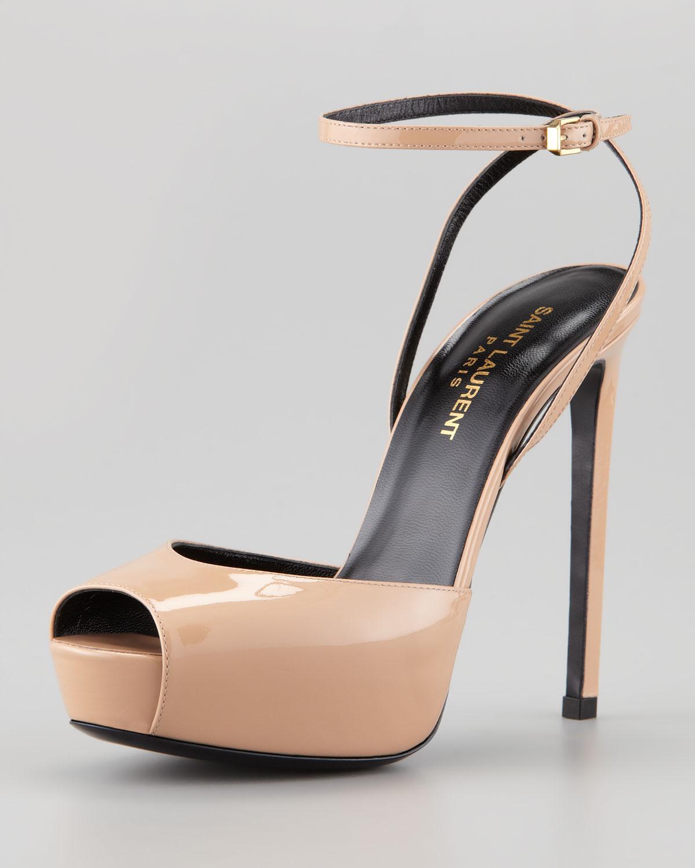13b372093d3 Saint Laurent Debbie Patent Peep Toe Platform Sandal in Natural - Lyst