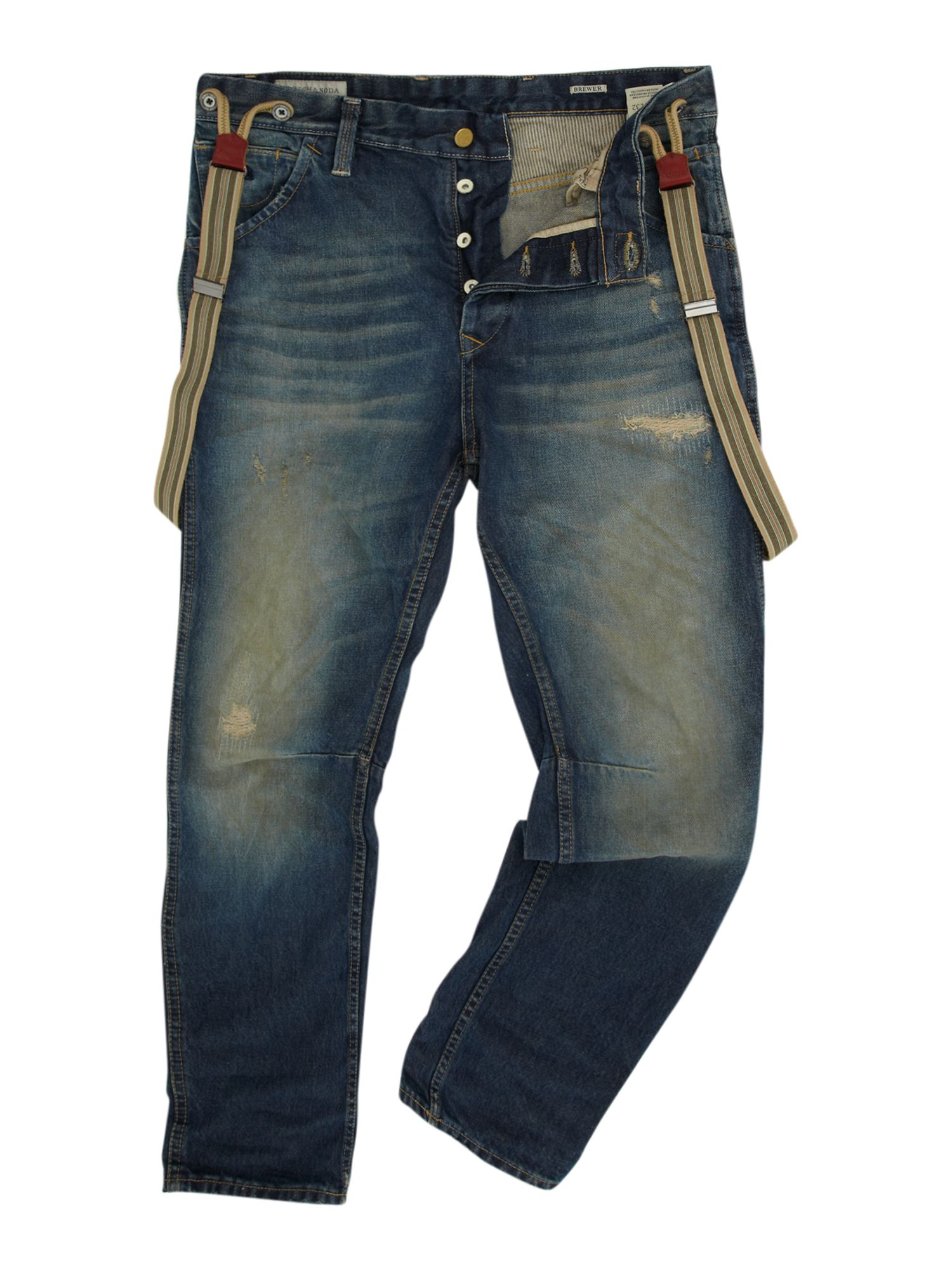 scotch soda loose fit braced jeans in blue for men. Black Bedroom Furniture Sets. Home Design Ideas