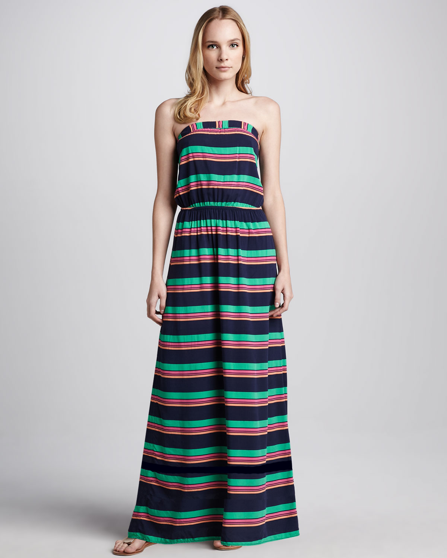 Splendid Cannes Striped Maxi Dress in Blue | Lyst
