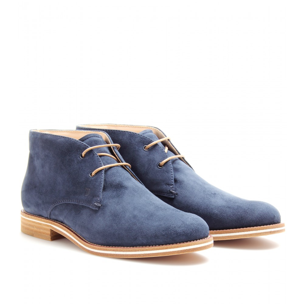 tod s tods no code suede desert boots in blue lyst