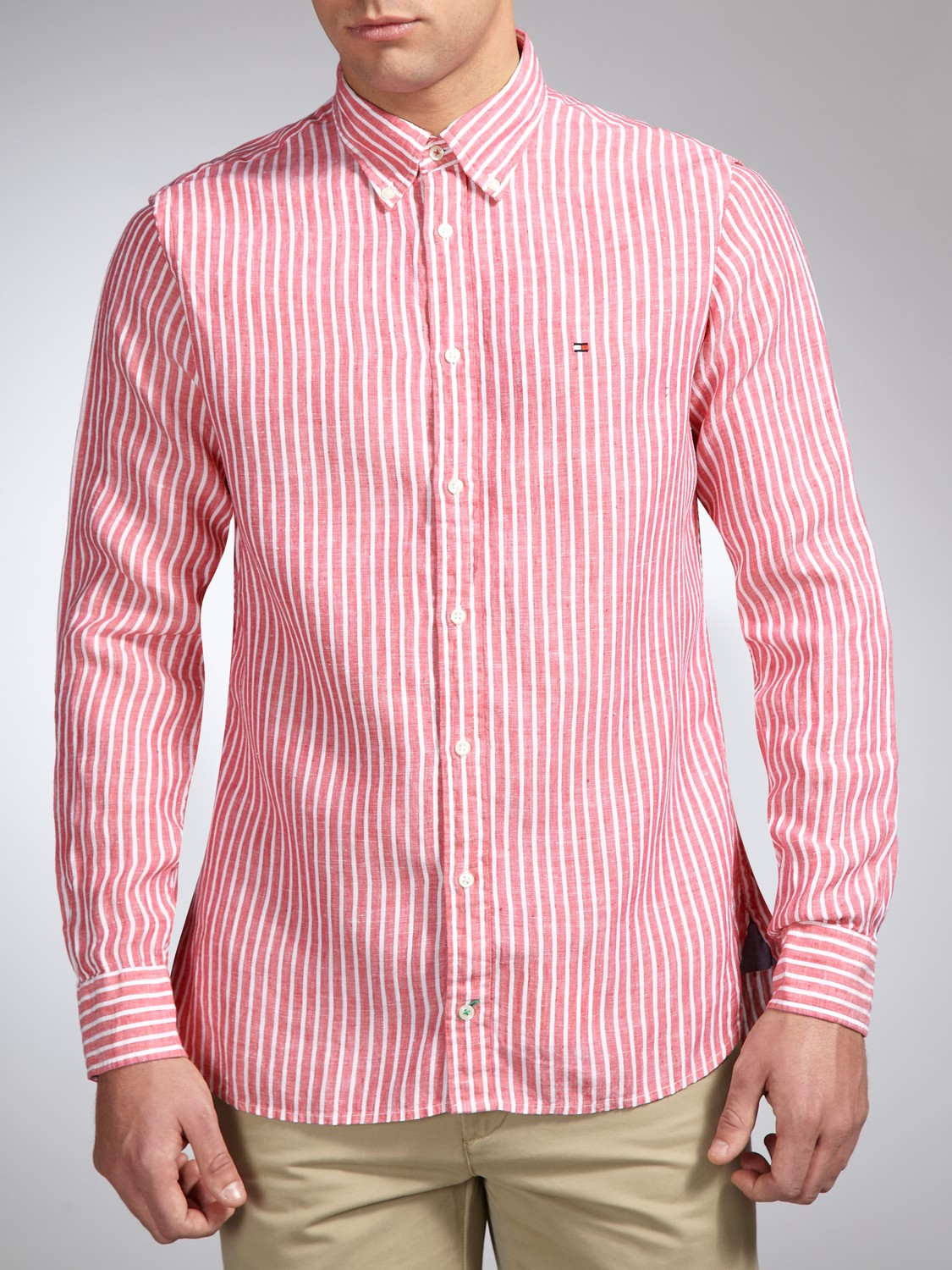 c9a1a9e01 Tommy Hilfiger Long Sleeve Stripe Linen Shirt in Red for Men - Lyst