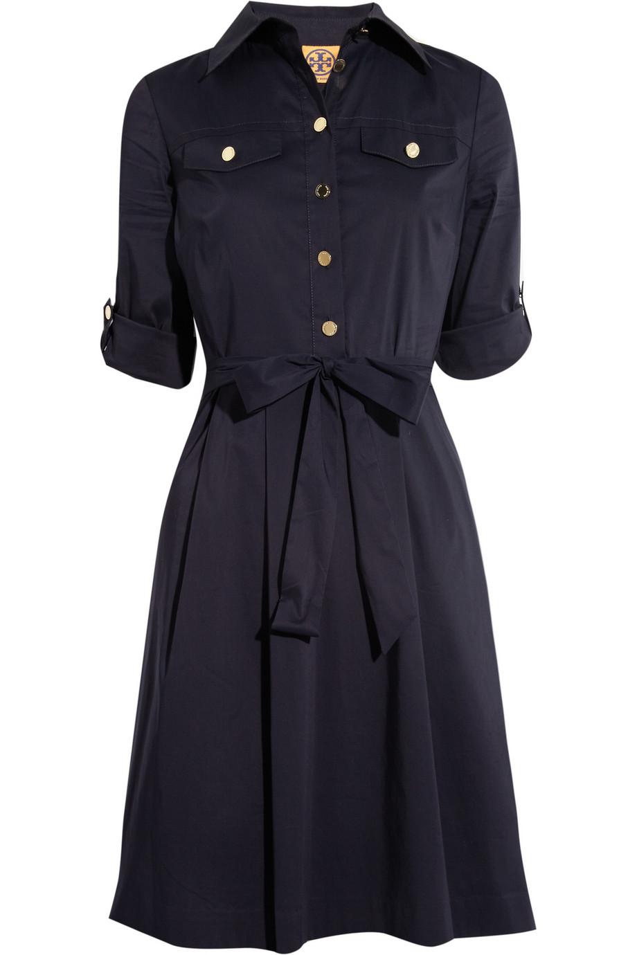 Lyst tory burch blythe stretch cottonblend shirt dress for How to stretch a dress shirt