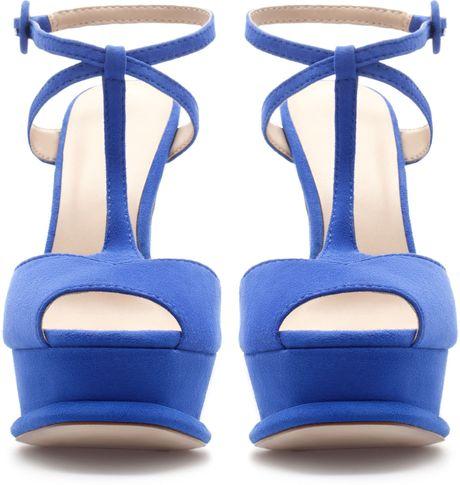 Zara Platform Heel Sandal In Blue Deep Blue Lyst