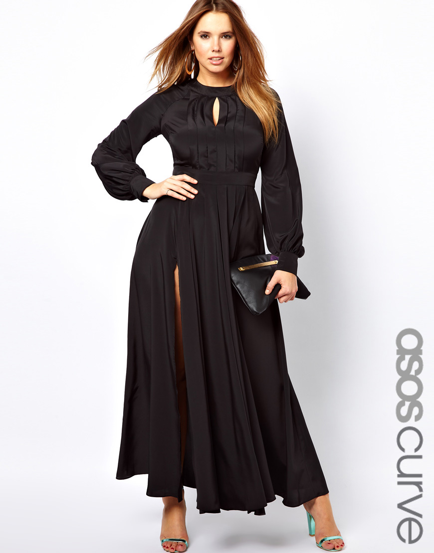 Asos Maxi Dress With Bell Sleeve In Black Lyst