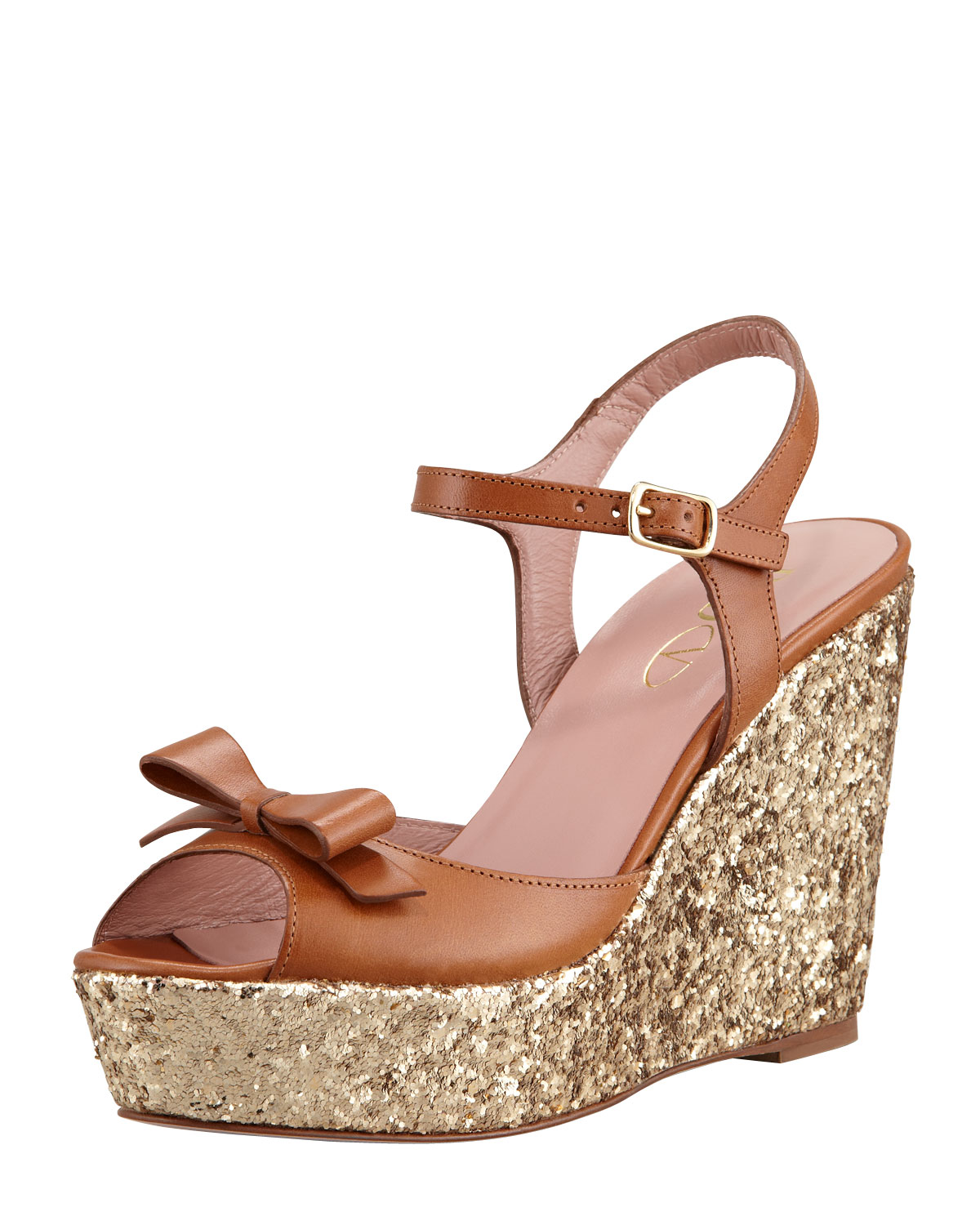 fc6f6d8c8ddb RED Valentino Leather Bow and Glitter Wedge Sandal in Metallic - Lyst