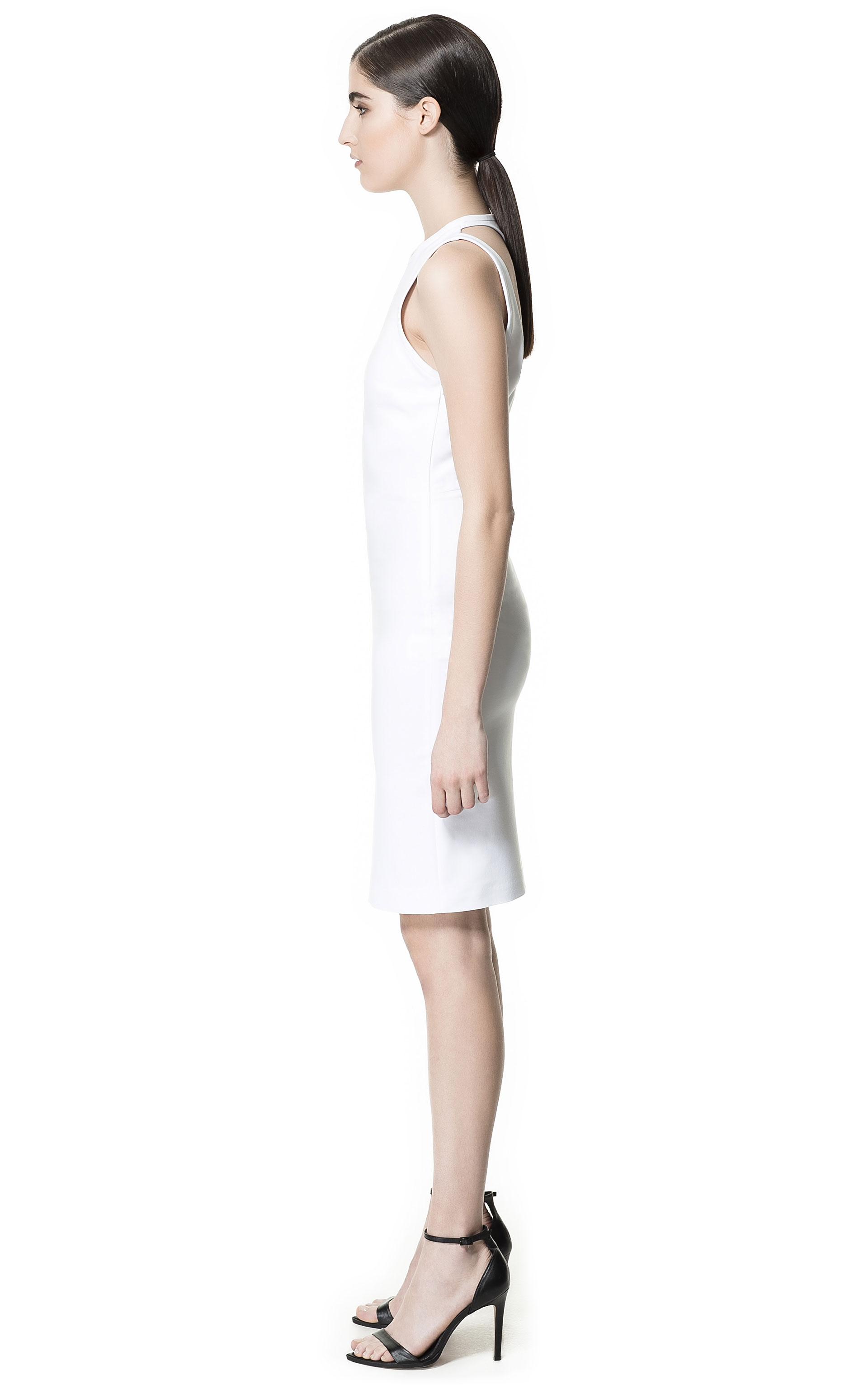 zara openback dress in white lyst. Black Bedroom Furniture Sets. Home Design Ideas