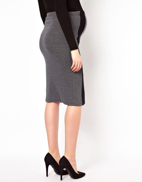 asos maternity exclusive ponte pencil skirt with contrast