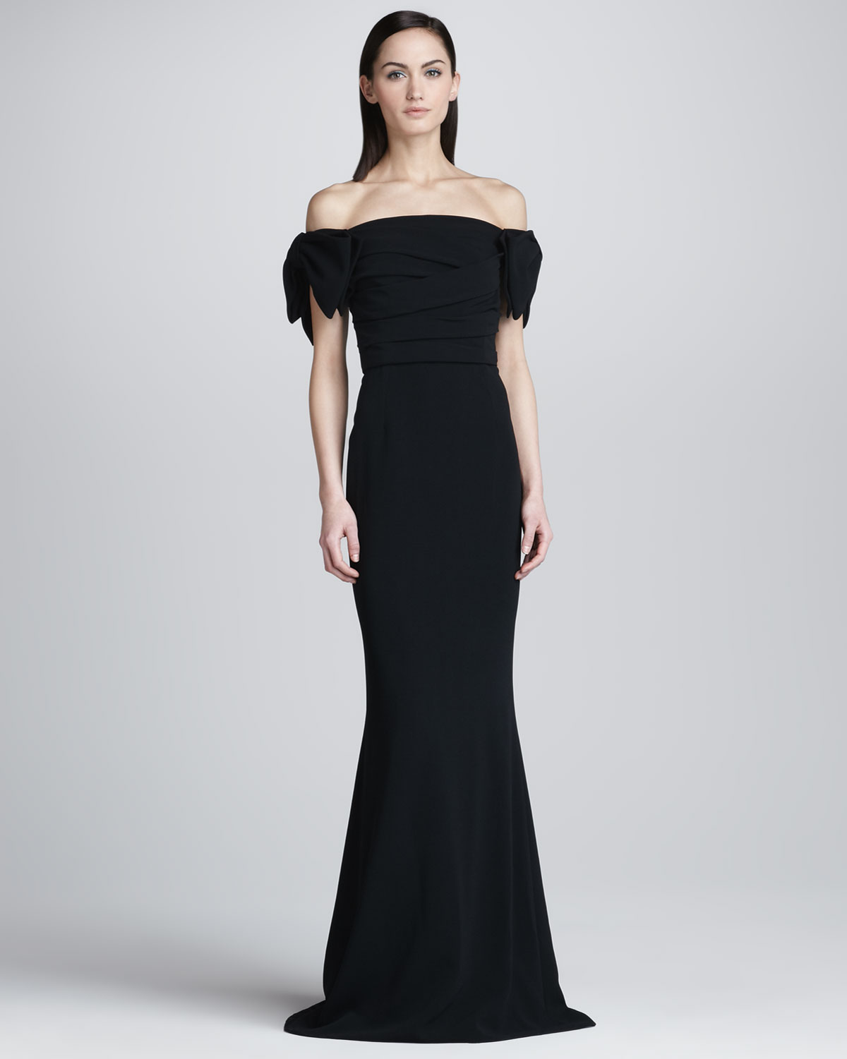 Lyst Dolce Gabbana Dropped Sleeve Fit And Flare Gown In Black