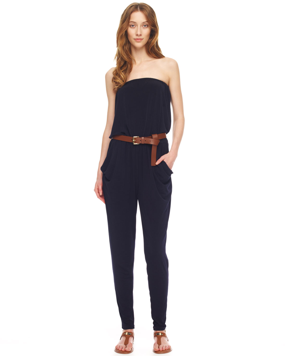 michael michael kors strapless jersey jumpsuit in blue lyst. Black Bedroom Furniture Sets. Home Design Ideas