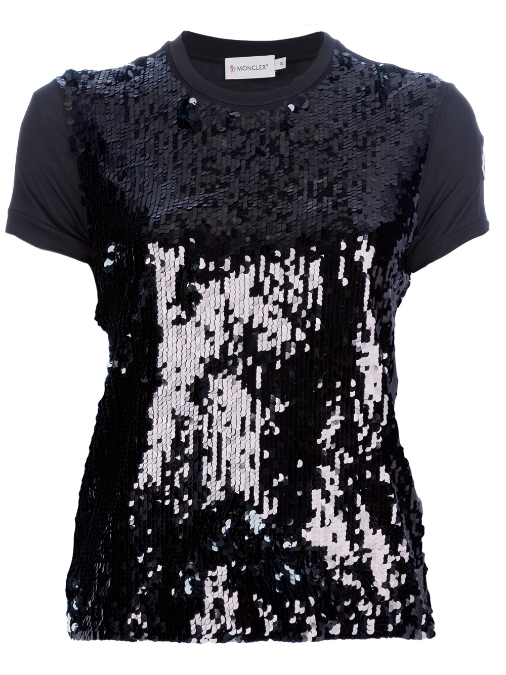 lyst moncler sequin embellished t shirt in black. Black Bedroom Furniture Sets. Home Design Ideas