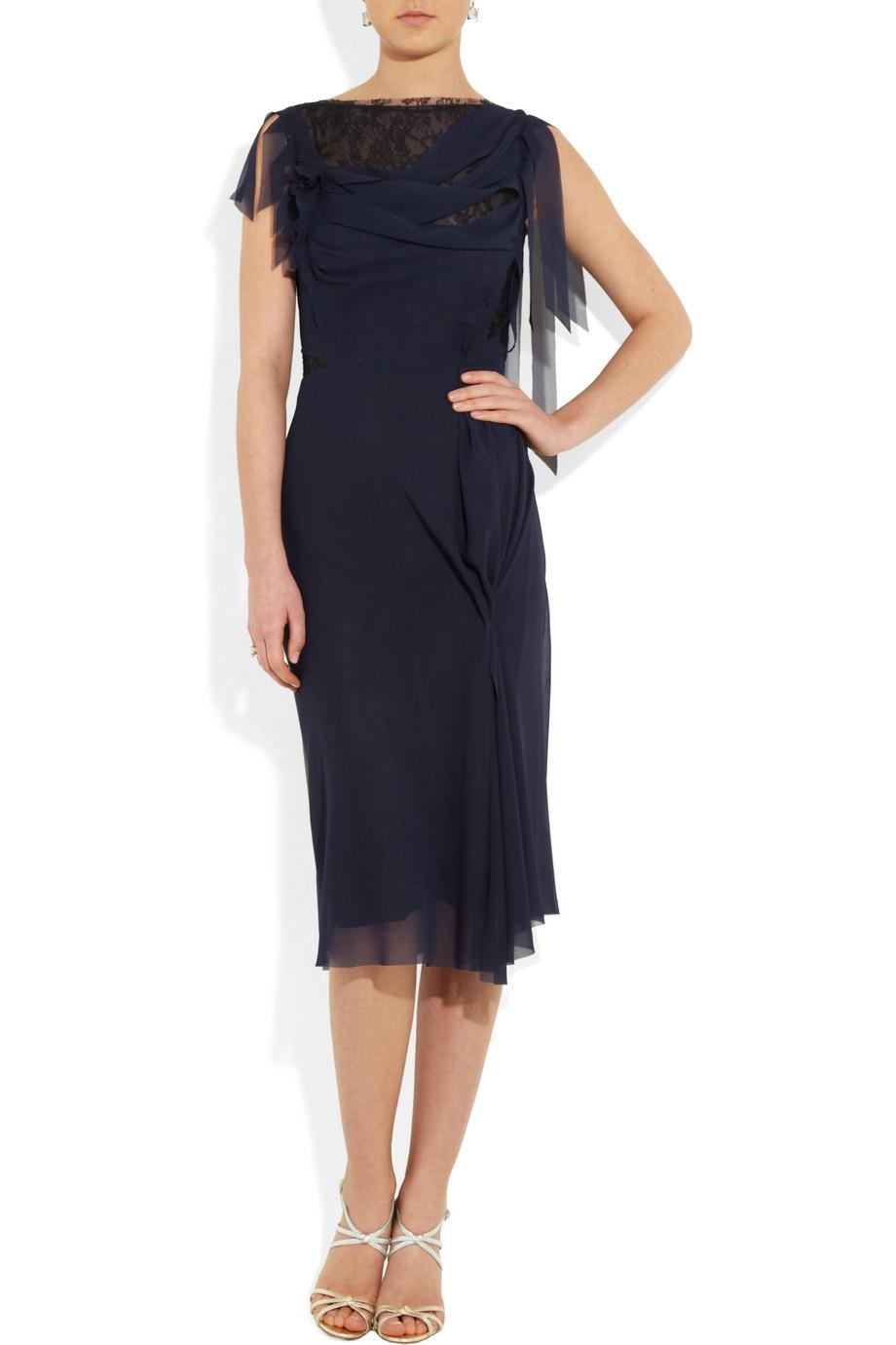 Nina ricci Lace Paneled Chiffon Dress in Blue