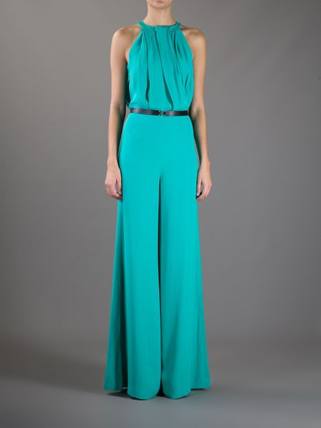 Fantastic Draped VISCOSEBLEND Jersey JUMPSUIT Womens Turquoise Jumpsuit