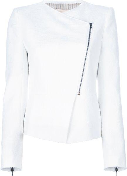 Vanessa Bruno Bouclé Knit Biker Jacket in White